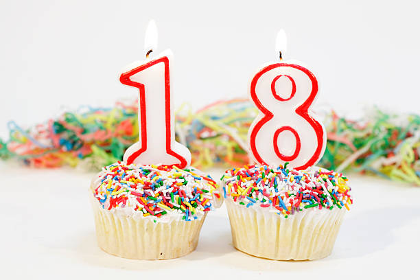 Birthday Cake With Burning Candle Number 18 Stock Photo EighteenParty