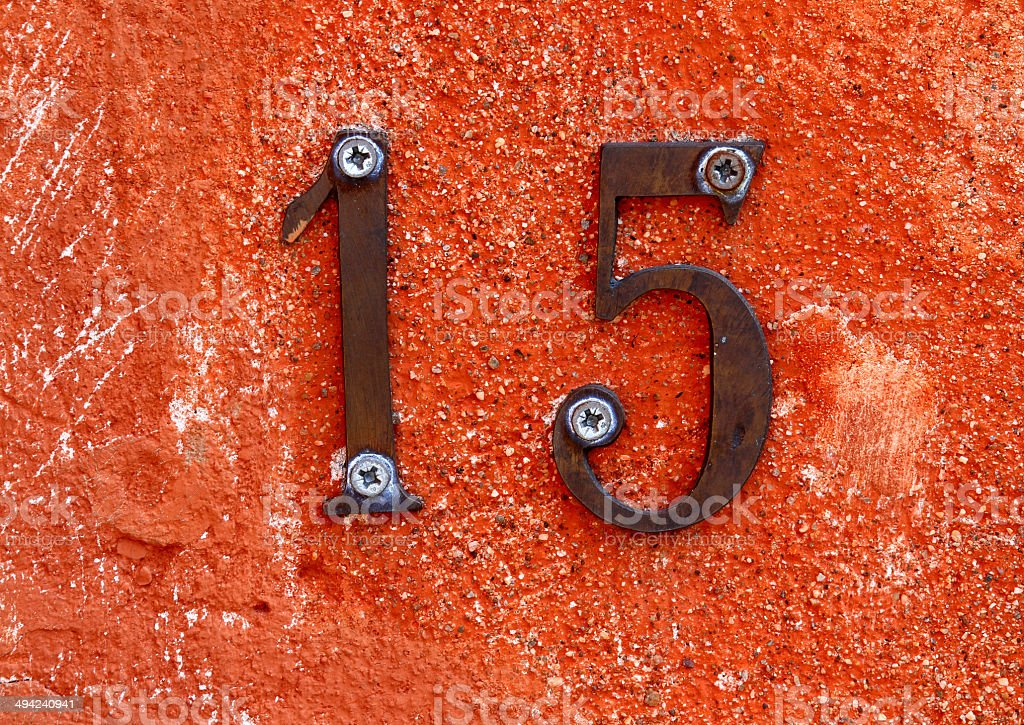 number fifteen formed from two digits stock photo