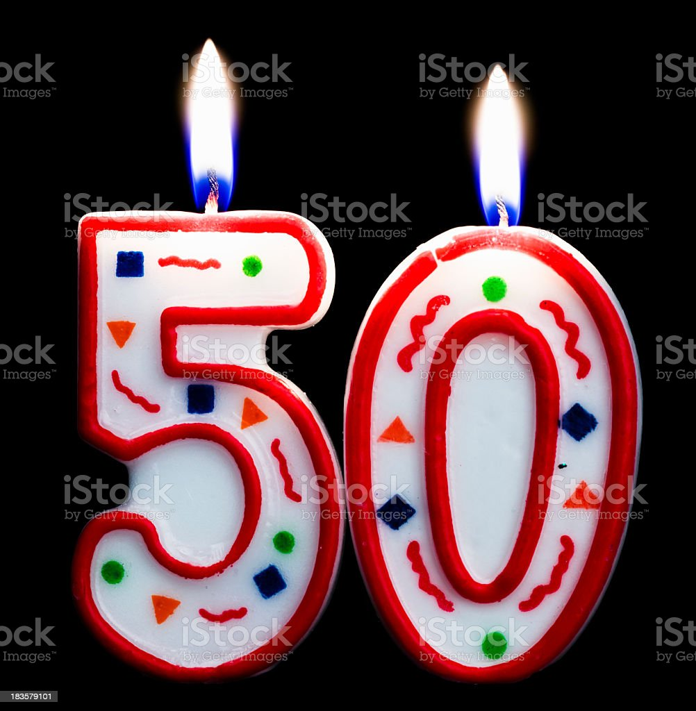 number fifty birthday candle stock photo