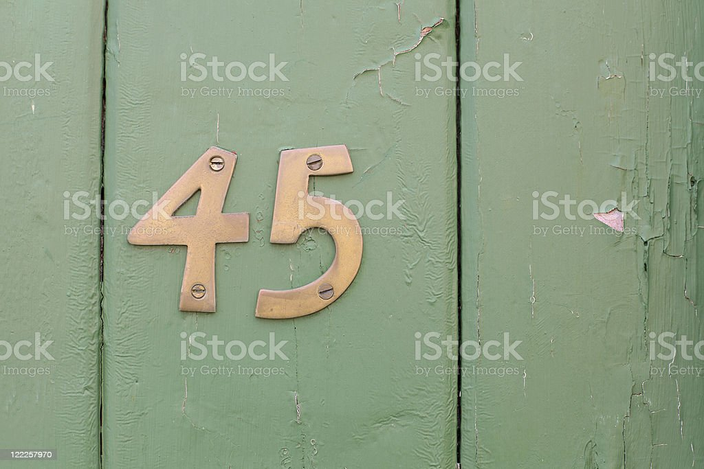 Number Forty Five stock photo