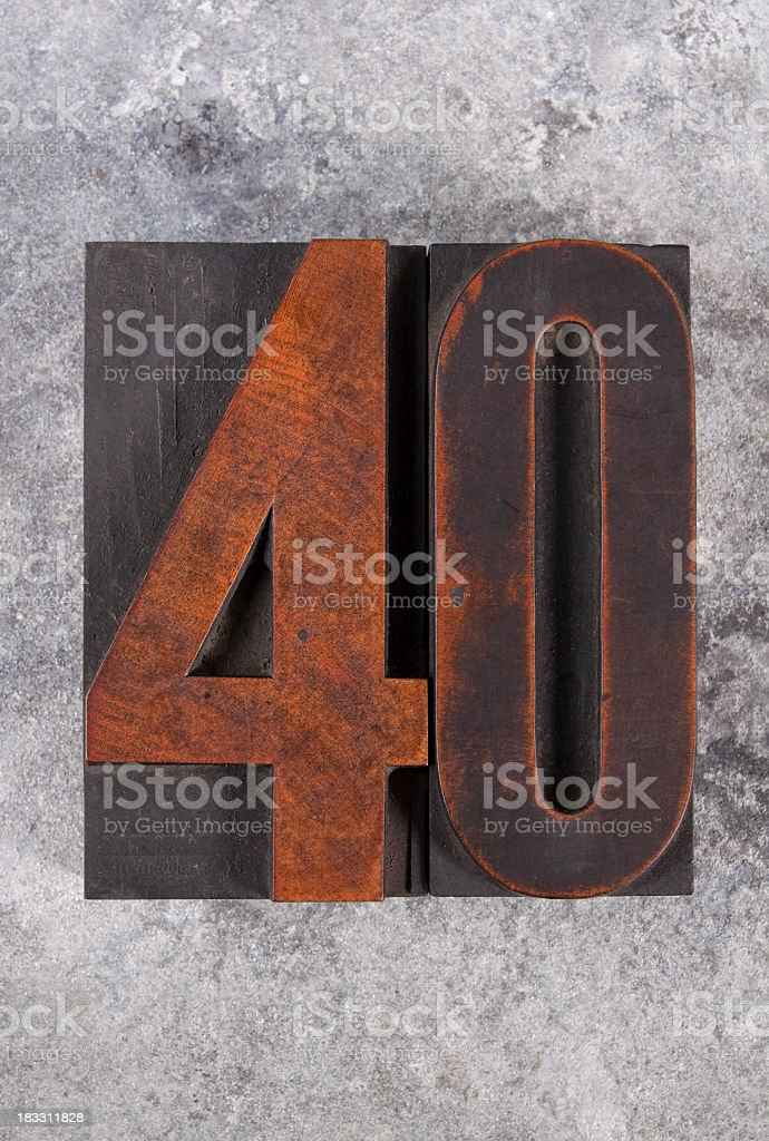 Number forty letterpress stock photo