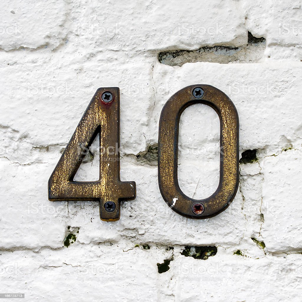 Number Forty stock photo