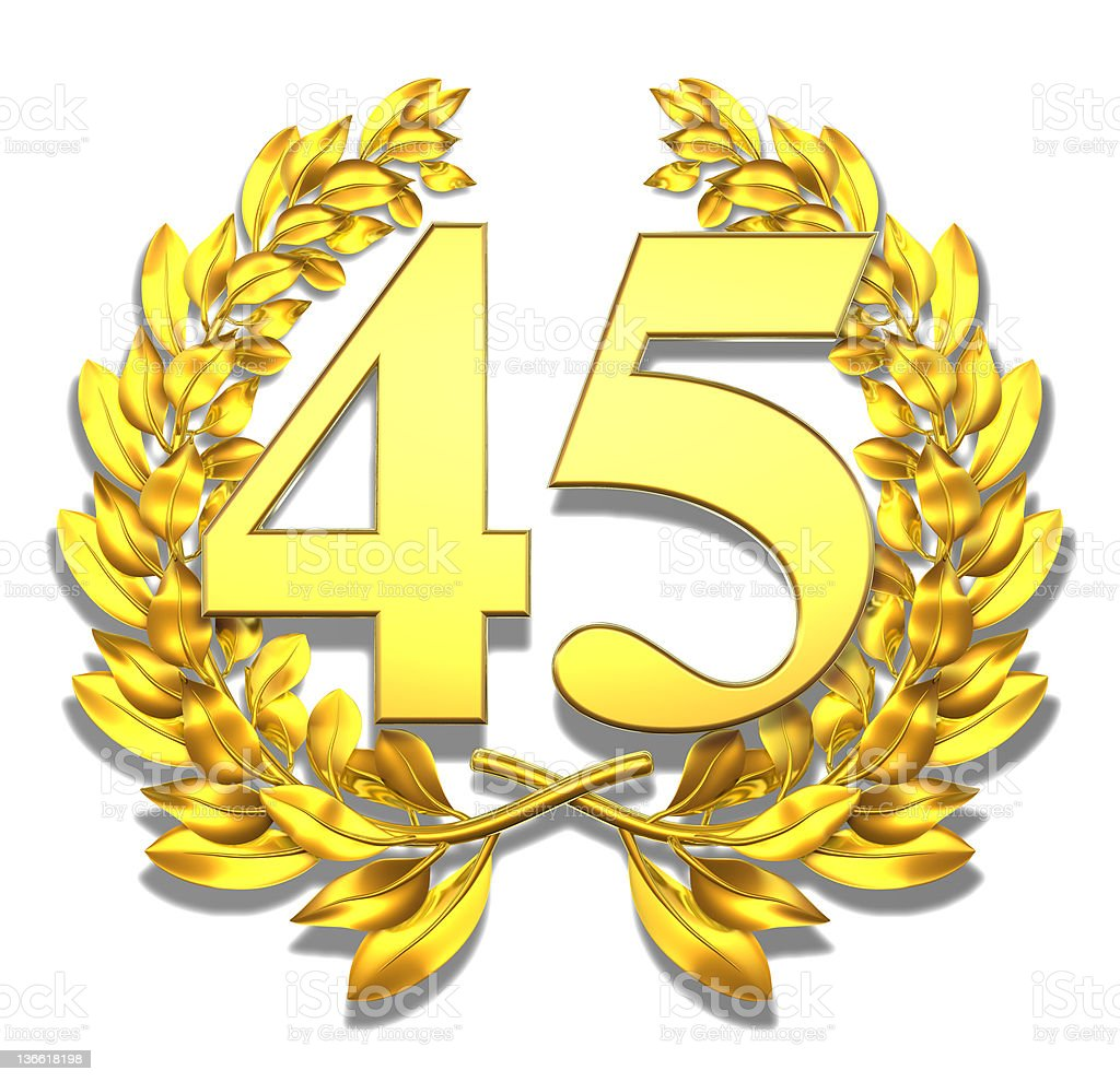 Number forty-five stock photo