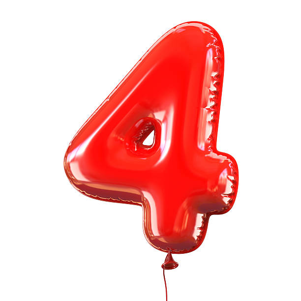 Number four - 4 balloon font stock photo