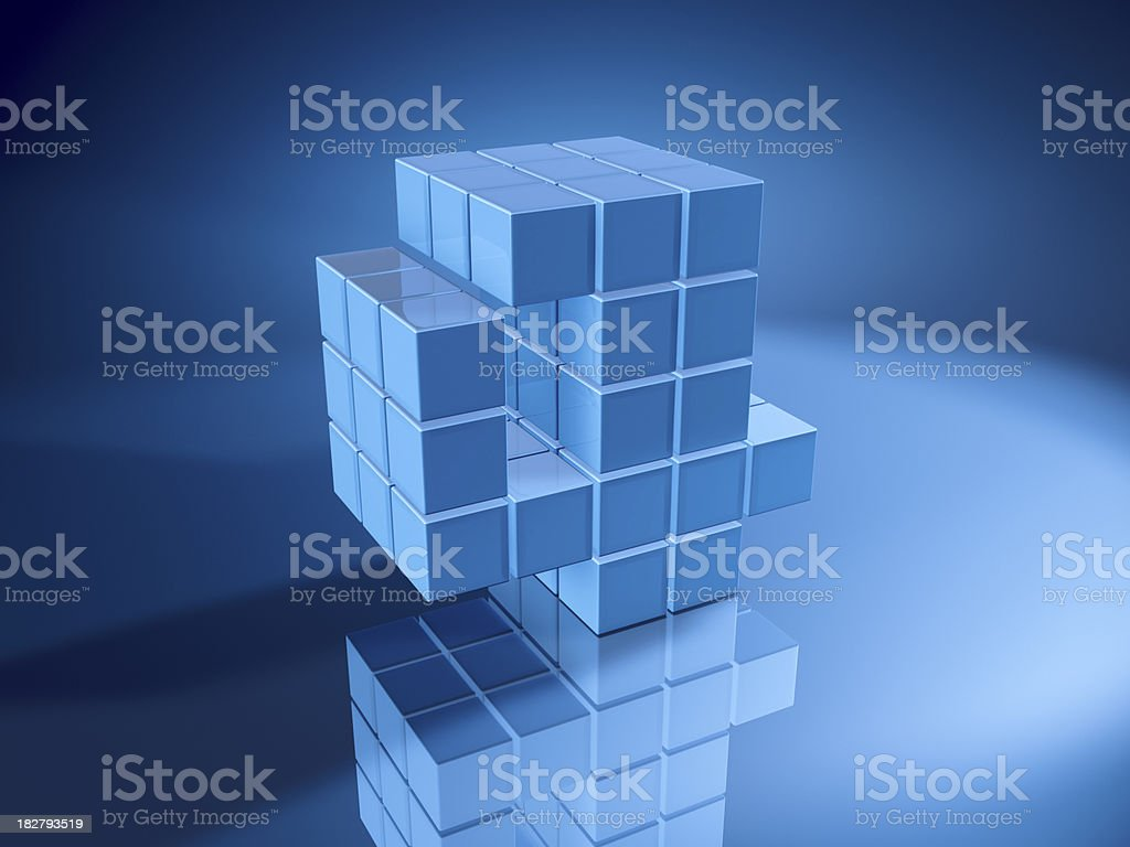 Number Four Blue Cubes royalty-free stock photo