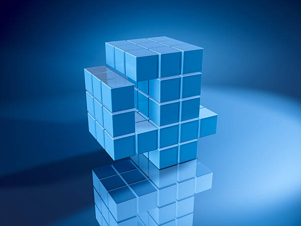 Number Four Blue Cubes 3D Render of a Number Four built with pixelated blue cubes. Very high resolution available! Use it for Your own composings!Related images: blue 3d business NOT map NOT background stock pictures, royalty-free photos & images