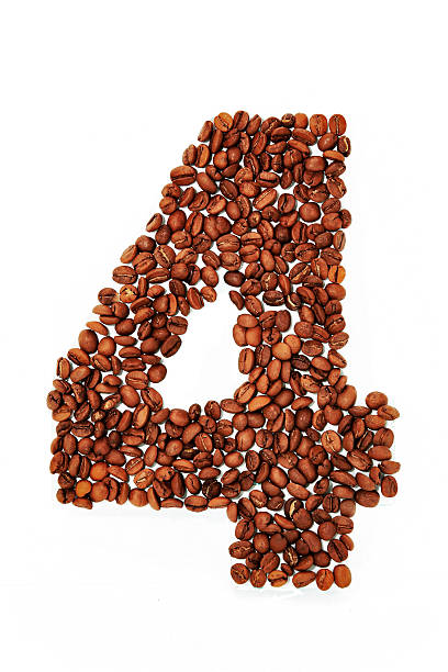 Number four. Coffee beans background stock photo