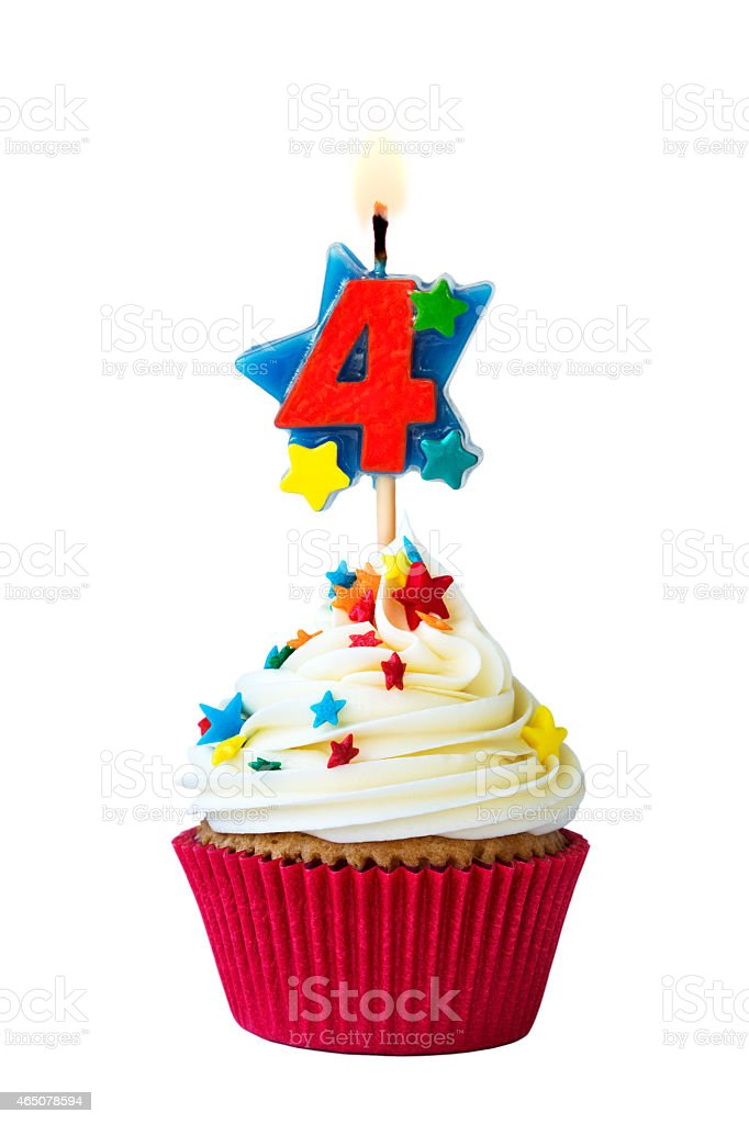 Number four cupcake stock photo