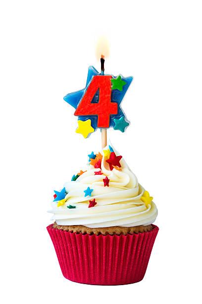 Number four cupcake stock photo