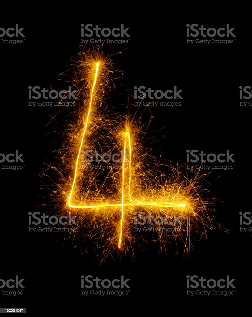 Number Four Drawn in Fireworks royalty-free stock photo