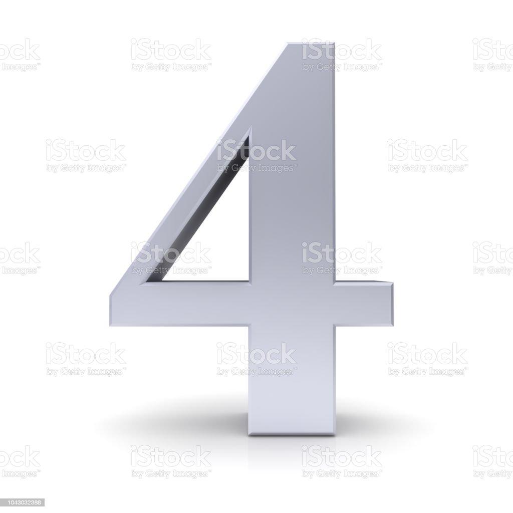 4 Cuatro Cuarto 3d Plata Numeral Aislado Signo De Número Foto de ...