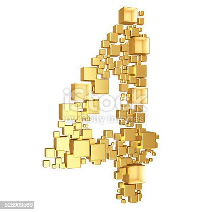 673234458 istock photo Number Four Made of Golden Cubes Isolated 528909569