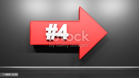 istock Number Four red arrow at black background - 3D rendering illustration 1199914233