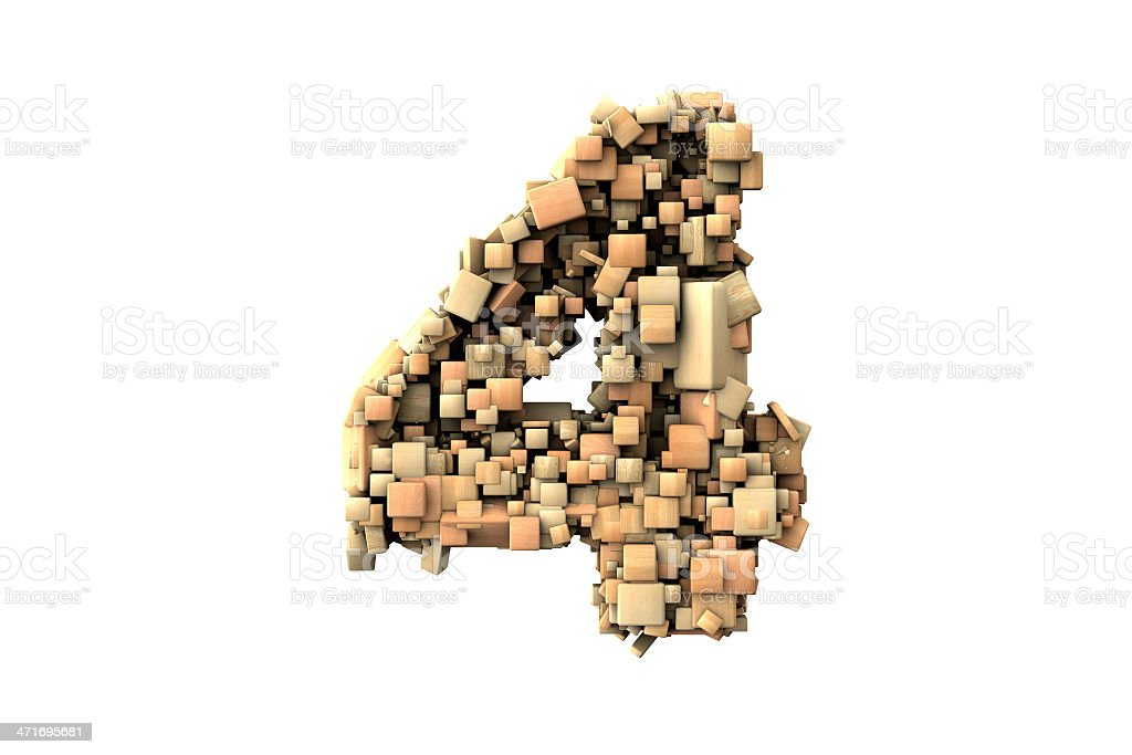 Number four shape  build with wood particles royalty-free stock photo