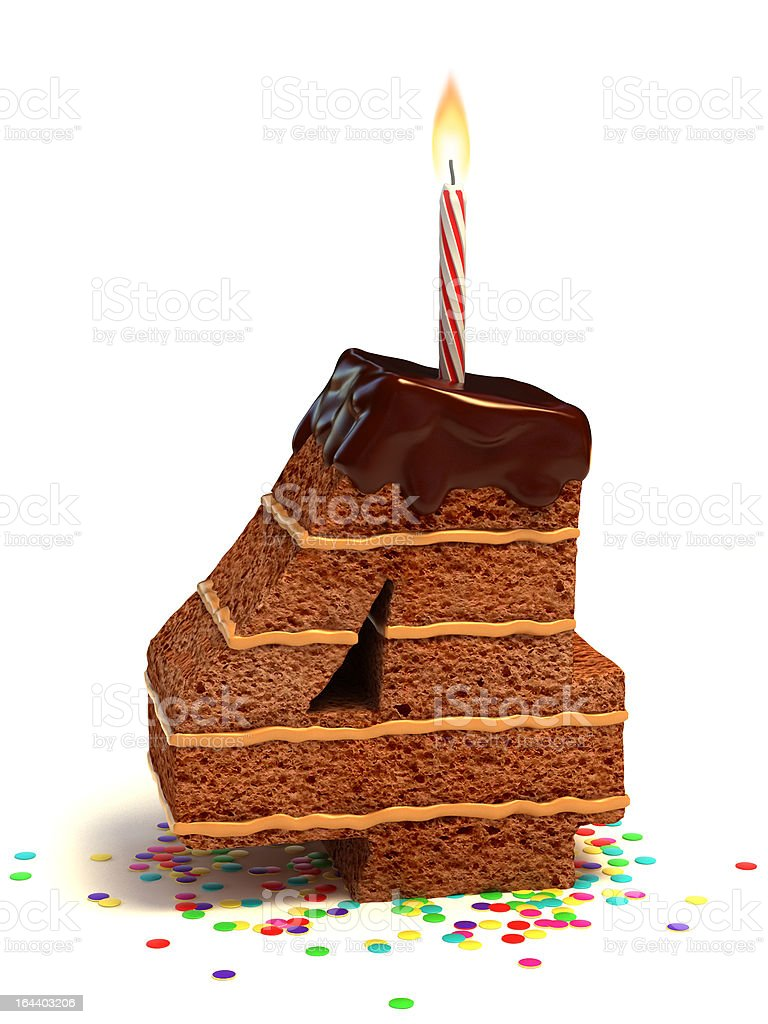 number four shaped chocolate cake stock photo