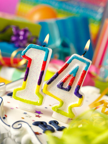 Number Fourteen Birthday Candle Stock Photo 14th