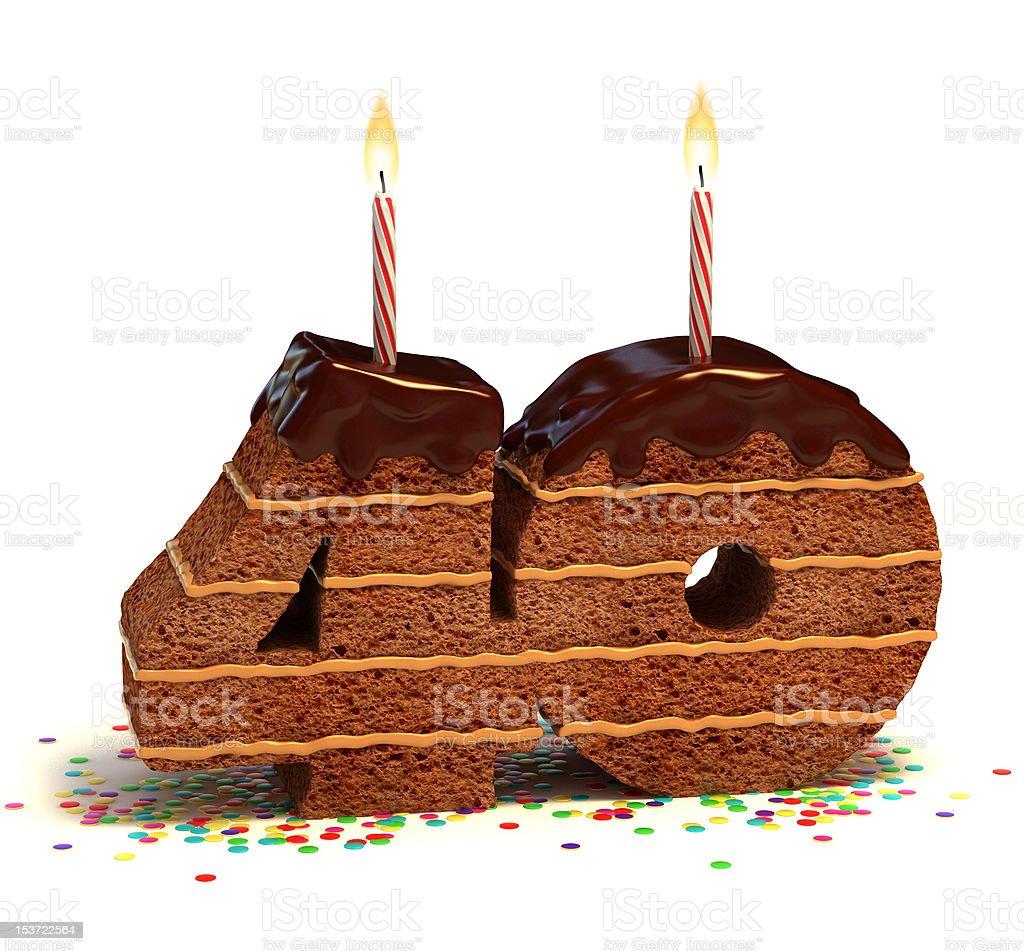 number fourty shaped chocolate cake stock photo