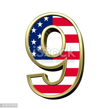 istock Number from american flag alphabet set isolated over white. 518137376