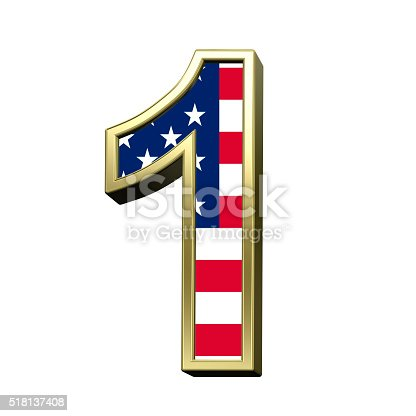 istock Number from american flag alphabet set isolated over white. 518137408