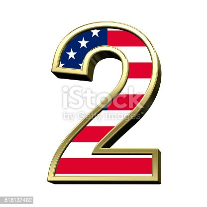 istock Number from american flag alphabet set isolated over white. 518137462