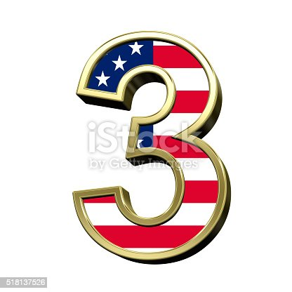 istock Number from american flag alphabet set isolated over white. 518137526