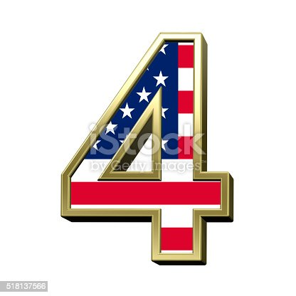 istock Number from american flag alphabet set isolated over white. 518137566