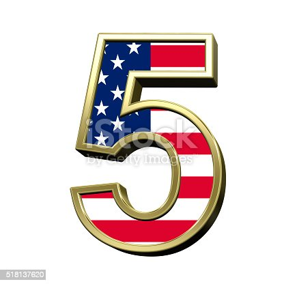istock Number from american flag alphabet set isolated over white. 518137620