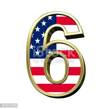 istock Number from american flag alphabet set isolated over white. 518137676