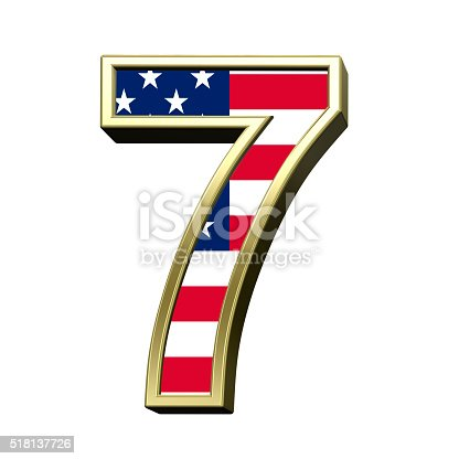 istock Number from american flag alphabet set isolated over white. 518137726