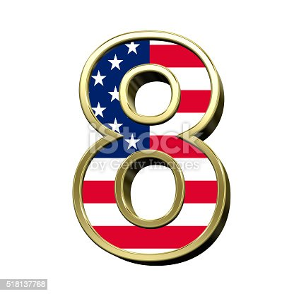istock Number from american flag alphabet set isolated over white. 518137768