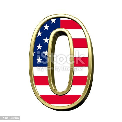 istock Number from american flag alphabet set isolated over white. 518137806