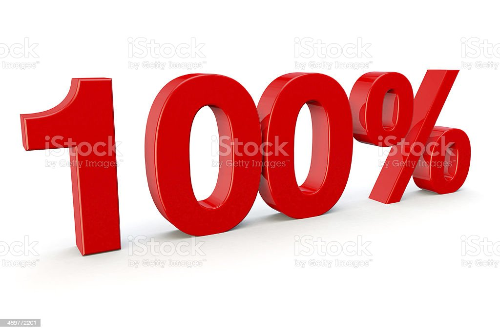 100% number in red on a white background stock photo
