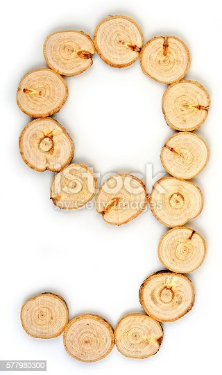 istock Number made of wood slice on a white background 577980300