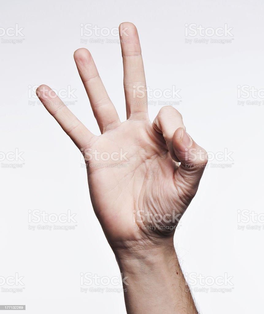 Number nine on American sign Language Alphabet
