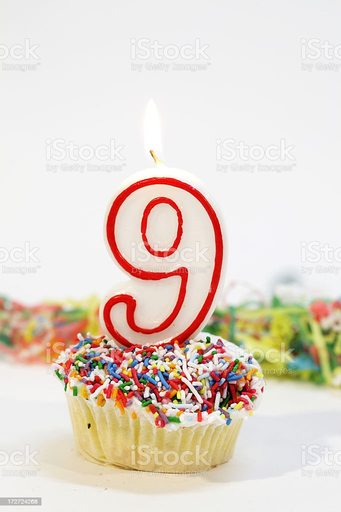Number Nine Party Cake royalty-free stock photo