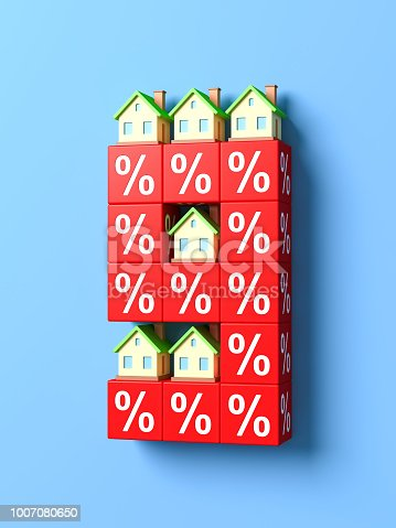 istock Number Nine With Miniature Houses And Red Percentage Blocks. 3d Illustration. 1007080650