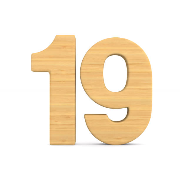 number nineteen on white background. isolated 3d illustration - number 19 stock photos and pictures