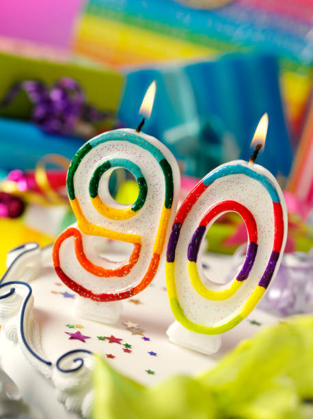 number ninety birthday candle - number 90 stock photos and pictures