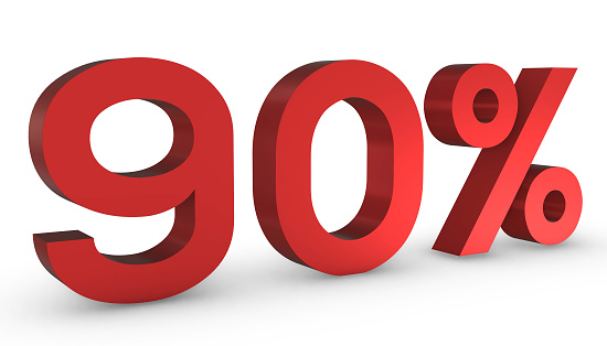 istock Number Ninety Percent 90% Red Sign 3D Rendering Isolated on White Backgro 1209889516