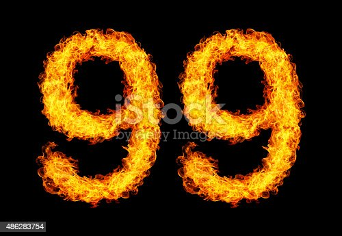 istock Number ninety-nine made from fire 486283754