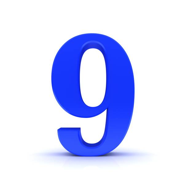 9 number number blue 3d sign on white background stock photo