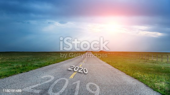 1150191246 istock photo Number of 2019 to 2021 on empty asphalt road 1150191489