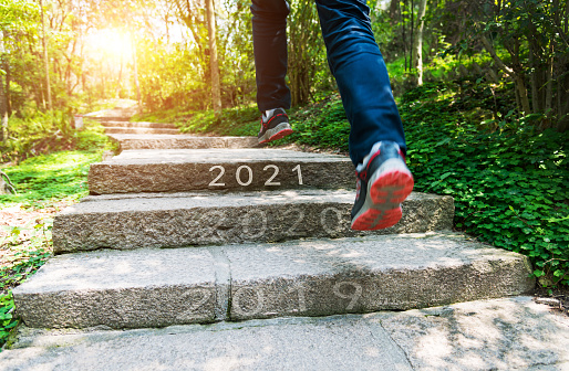 Number of 2019 to 2021 on stones footpath
