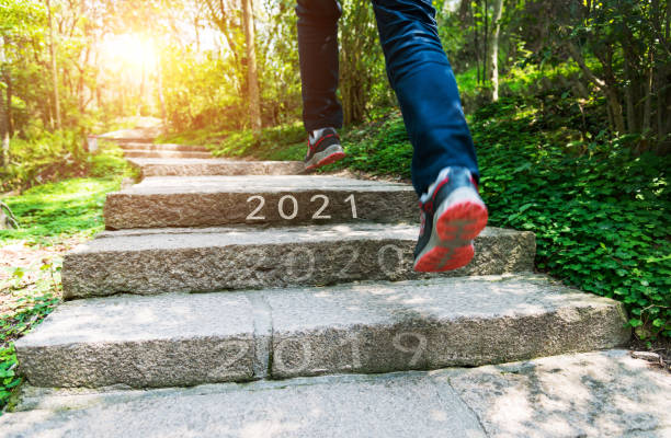 Number of 2019 to 2021 on stones footpath stock photo