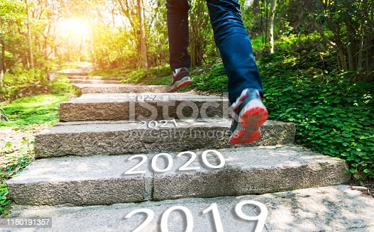 Number of 2019 to 2022 on stones footpath.