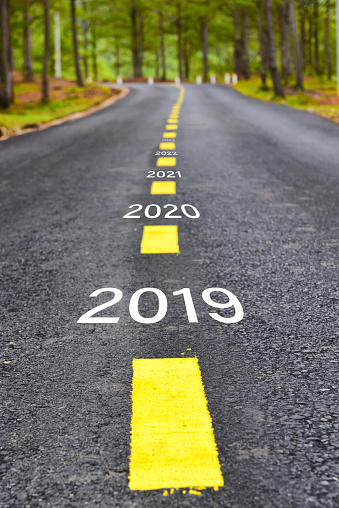 istock Number of 2019 to 2023 on asphalt road 1081330336