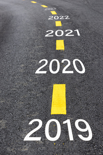 istock Number of 2019 to 2023 on asphalt road 1081389658
