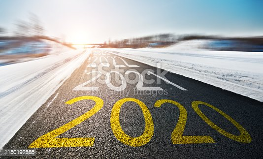 1150191246 istock photo Number of 2020 to 2022 on winter road 1150192885