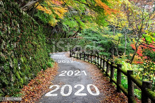 1081389658 istock photo Number of 2020 to 2023 on walkway with maple forest, happy new year concept 1192026859