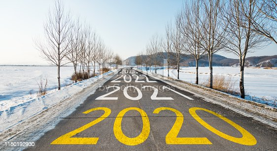 istock Number of 2020 to 2023 on winter road 1150192930